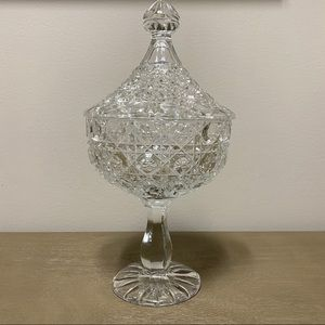 Vintage Glass Compote with Lid